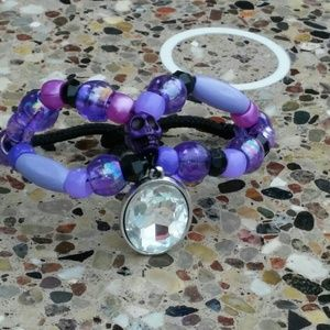 Multi purple skull  wire chinks tresyours bracelet